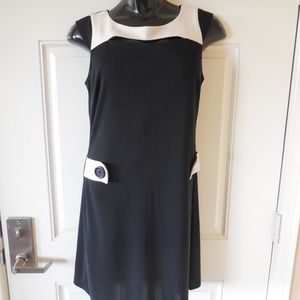 Moda International Shift Dress Black/Beige Cut Out